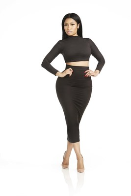 Ultrasuede pencil skirt and crop top from the Nicki Minaj Classic Collection, sold exclusively at Kmart and Kmart.com. Nicki Minaj models a pencil skirt and crop top from her new Classic Collection, sold exclusively by Kmart.