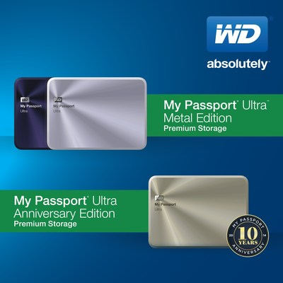 WD(R) CELEBRATES 10TH ANNIVERSARY OF MY PASSPORT(TM) DRIVES WITH NEW DESIGN AND LIMITED ANNIVERSARY EDITION. (PRNewsFoto/WD)