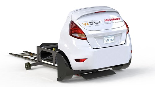 The carbon target which realistically mimics the rear end of a car. (PRNewsFoto/MESSRING Systembau) ...