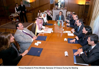 Prince Alwaleed meets with Prime Minister Samaras of Greece in Athens  (PRNewsFoto/Kingdom Holding Company)