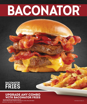 Wendy's Baconator is a one-of-a-kind. Made with two quarter pound patties of fresh, never frozen North American beef and topped with six strips of Applewood Smoked Bacon that's cooked in house every day. Add ketchup, mayo and cheese all under a warm, toasted bun. Up the ante with Baconator Fries loaded with fresh-cooked bacon, warm cheddar cheese sauce and shredded cheddar cheese over Wendy's natural-cut fries.