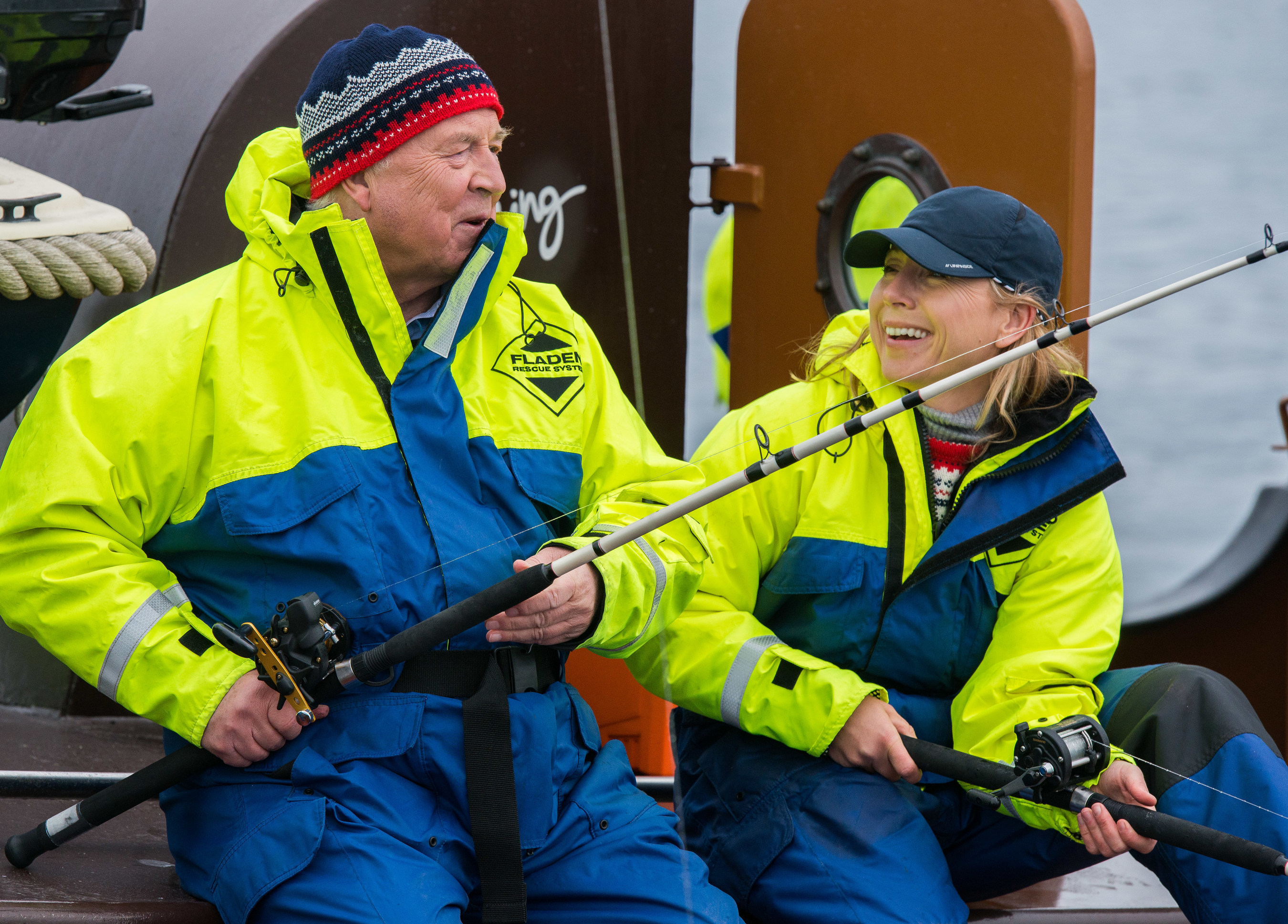 Viking Cruises founder and chairman Torstein Hagen and his daughter, Karine Hagen, fishing off the coast of Norway. Torstein Hagen, who is a Norwegian native, was visiting the touring the country to commemorate the arrival of the company's new ship, Viking Sea, in five new Norwegian ports of call. Karine Hagen, who serves as Senior Vice President at Viking, is also the godmother of Viking Sea.