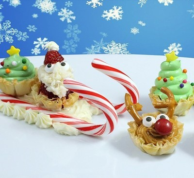Santa in Phyllo Sleigh: ound up the reindeer, Christmas trees and even Santa Claus himself for this fun and festive food display!