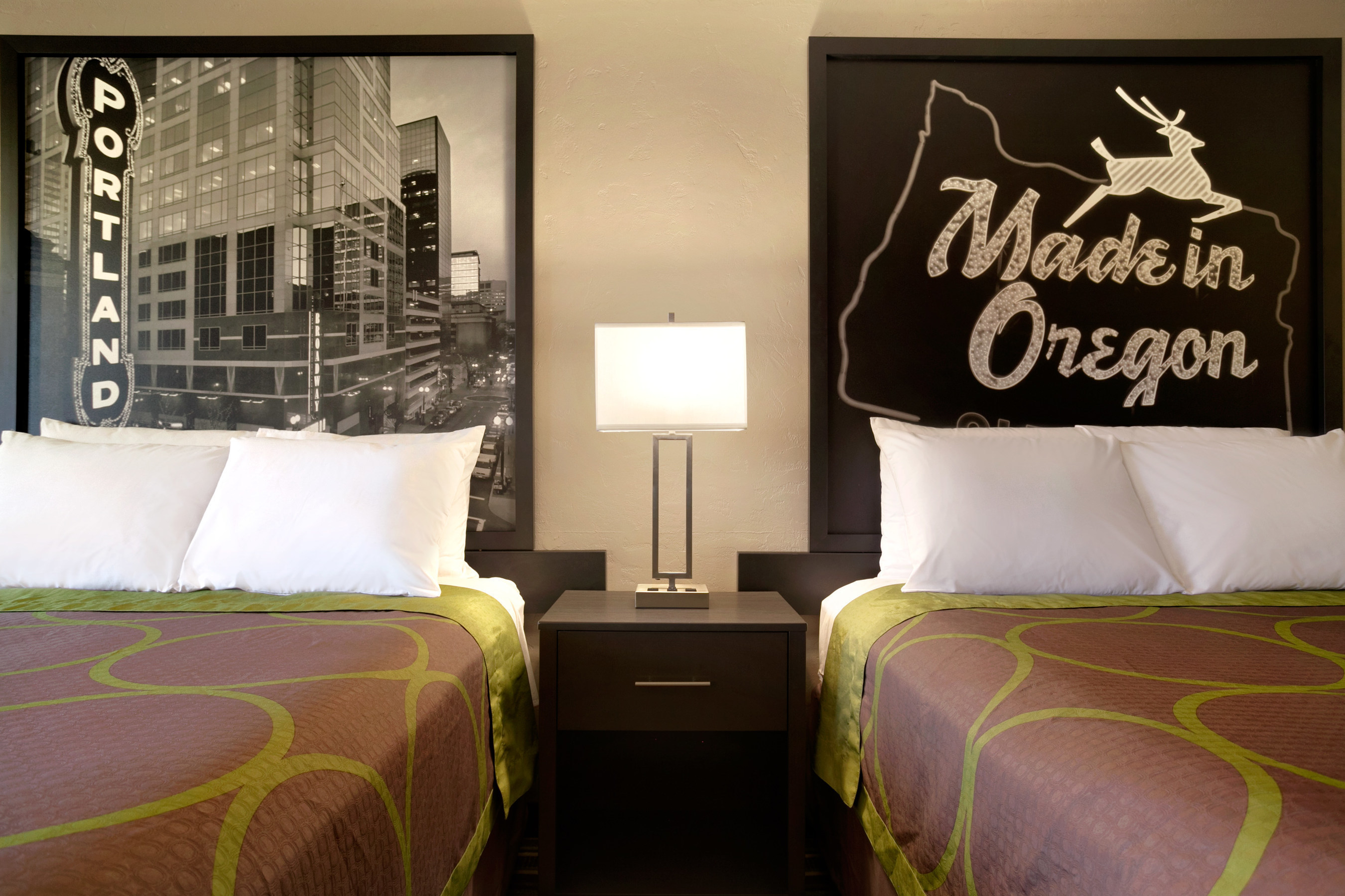 Super 8's new, modern look, including its updated art, will roll out to the remainder of the brand's hotels across the U.S. and Canada by the end of 2016. Above, the Super 8 in Portland, Ore.