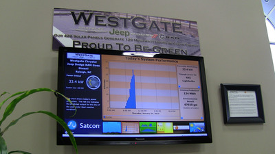 Westgate's LCD screen shows customers how much electricity is being generated.  (PRNewsFoto/Chrysler Group LLC)