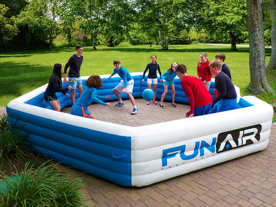 Portable Gaga Ball! The FunAir Gaga Ball Pit is the exciting new way to play the latest craze in dodge ball! This inflatable version of this outrageously popular game inflates in just six minutes and can be used both indoors and out. With an interior playing area of 15' x 15' play area that accommodates 10 players and more, the FunAir Gaga Ball Pit keeps kids and adults entertained and active for hours, rain or shine. The FunAir Gaga Ball pit deflates quickly and stores in a compacted case, which frees up the playing space for other activities. (PRNewsFoto/FunAir)