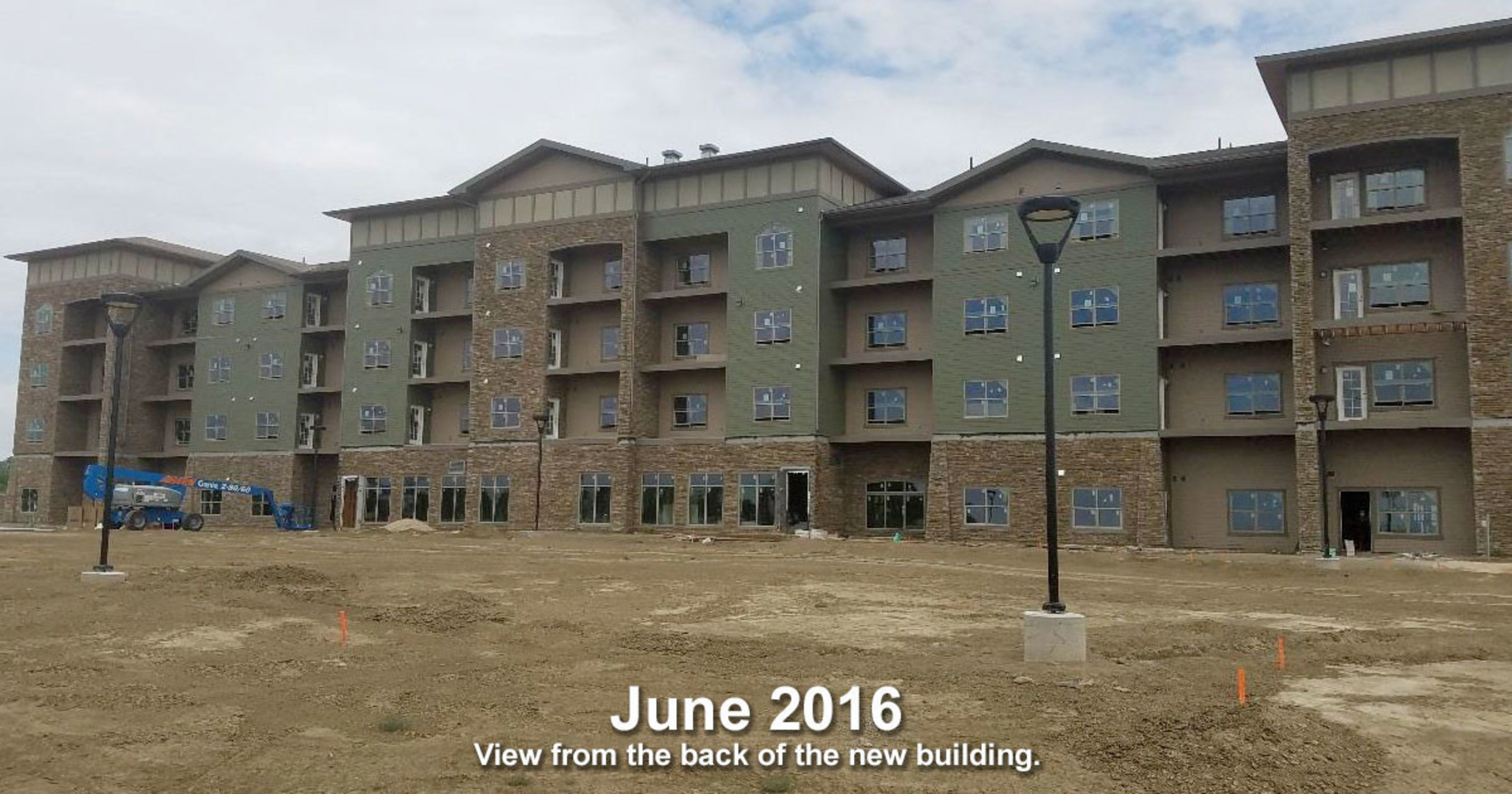 View of the south side of the new Oakshire Trails senior apartment community in Pueblo, Colorado.