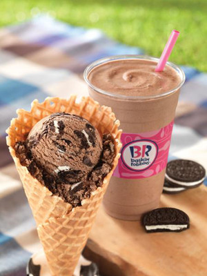 Baskin-Robbins Celebrates National Ice Cream Month: Free Waffle Cone Offer & OREO(R)-Inspired Treats.  (PRNewsFoto/Baskin-Robbins)