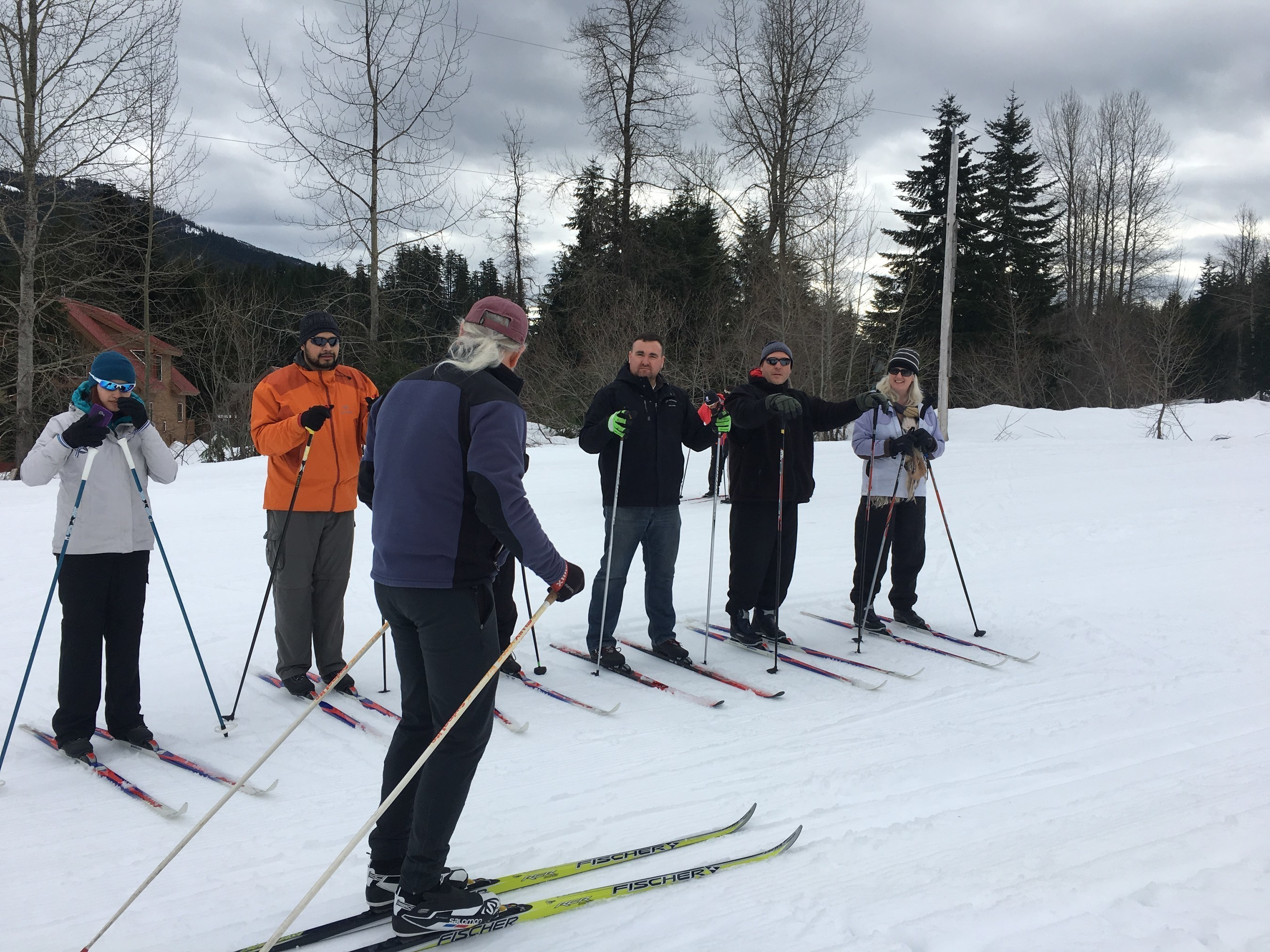 Wounded Warrior Project Alumni received instructions before hitting the trail at Summit Nordic Center.
