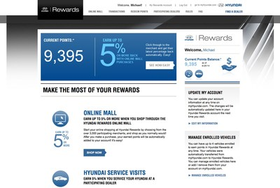 Hyundai Rewards Member Welcome Page