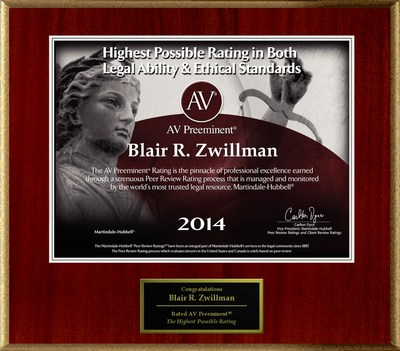 Attorney Blair R. Zwillman has Achieved the AV Preeminent(R) Rating - the Highest Possible Rating from Martindale-Hubbell(R). (PRNewsFoto/American Registry)