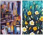 Milijada Barada and Ana Tzarev at the Ana Tzarev Gallery. Left: New Jork no.26 (detail), Milijada Barada. Oil on linen, 2011. Right: Spring Joy 2, Ana Tzarev. Oil on linen, 2010.  (PRNewsFoto/Ana Tzarev Gallery)