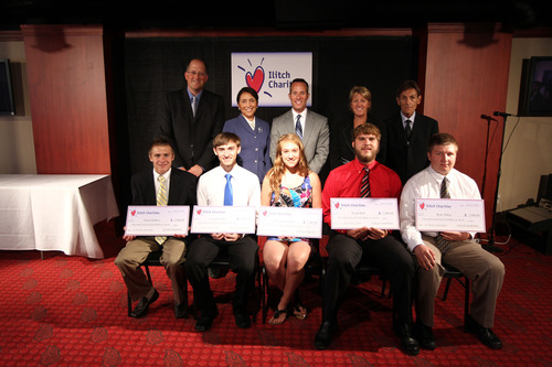 The 2011 Ilitch Charities Hockey Scholarship recipients pose with Ilitch Charities Board Members at a recognition luncheon at Hockeytown Cafe in Detroit.  Front (left to right): Grant DeMoss, Cameron Ohrt, Kelsey Summers, Noah Bohl, and Kyle Tokan. Back (left to right): Ilitch Charities Board Members Tim Padgett, Elaine Lewis, Chairman Christopher Ilitch, Karen Cullen, David Agius.  (PRNewsFoto/Ilitch Charities)