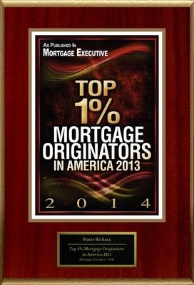 "Marie Richarz Selected For ""Top 1% Mortgage Originators In America 2013"" (PRNewsFoto/American Registry)"