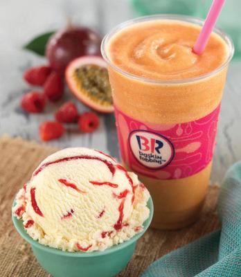 Baskin-Robbins' January Flavor of the Month, Berry Passionate Frozen Yogurt.  (PRNewsFoto/Baskin-Robbins)
