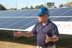 Robert J. Alt, Mayor of the Town of Elkton, installed the final solar panel in a ceremony on Wednesday