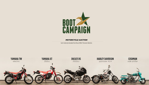 Motorcycle Auction to Benefit The Boot Campaign, a veteran awareness and support organization, featuring motorcycles from actor Bruce Willis' personal collection.  Auction launches December 6, 2012 on www.CharityBuzz.com. For more information visit www.BootCampaign.com.  (PRNewsFoto/The Boot Campaign)