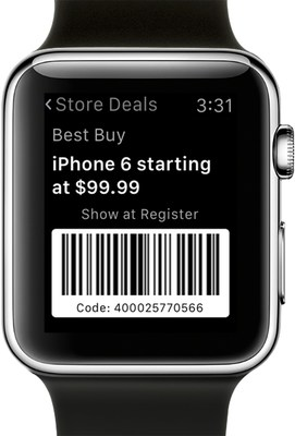 RetailMeNot Apple Watch app, example of an in-store coupon