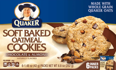 Quaker Soft Baked Oatmeal Cookies Chocolate & Almond.  (PRNewsFoto/The Quaker Oats Company)