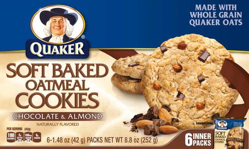 Quaker Soft Baked Oatmeal Cookies Chocolate & Almond.  (PRNewsFoto/The Quaker Oats Company)