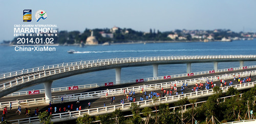 The photo, which captures the thrill and excitement of the Xiamen International Marathon, is a perfect combination of the great city Xiamen and the Gold Label event. The event is held along the Yanwu Bridge stretch, the world's most beautiful race route, facing China's well-known scenic spot Gulangyu. Described as