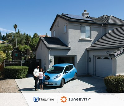 PlugShare-Sungevity Drive Solar California customers with their newly installed solar system and EV charging station.