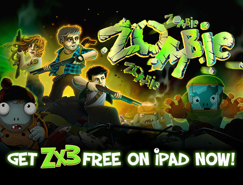 "Big Fish's ""Zombie! Zombie! Zombie! HD"" (or Zx3 for short) is now available free-to-play on iPad worldwide.  In ""Zx3,"" you and your small team of survivors are fighting off waves and waves of zombie hordes, battling valiantly to survive the mob of undead.  Zombies feel no fear, will never retreat, and can only be stopped by one thing: YOU.  (PRNewsFoto/Big Fish)"
