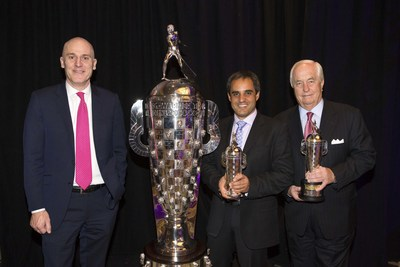 BorgWarner President and Chief Executive Officer James R. Verrier (left) presented 2015 Indianapolis 500 winner Juan Pablo Montoya (center) with a BorgWarner Championship Driver's Trophy(TM) and team owner Roger Penske (right) with a BorgWarner Championship Team Owner's Trophy(TM).
