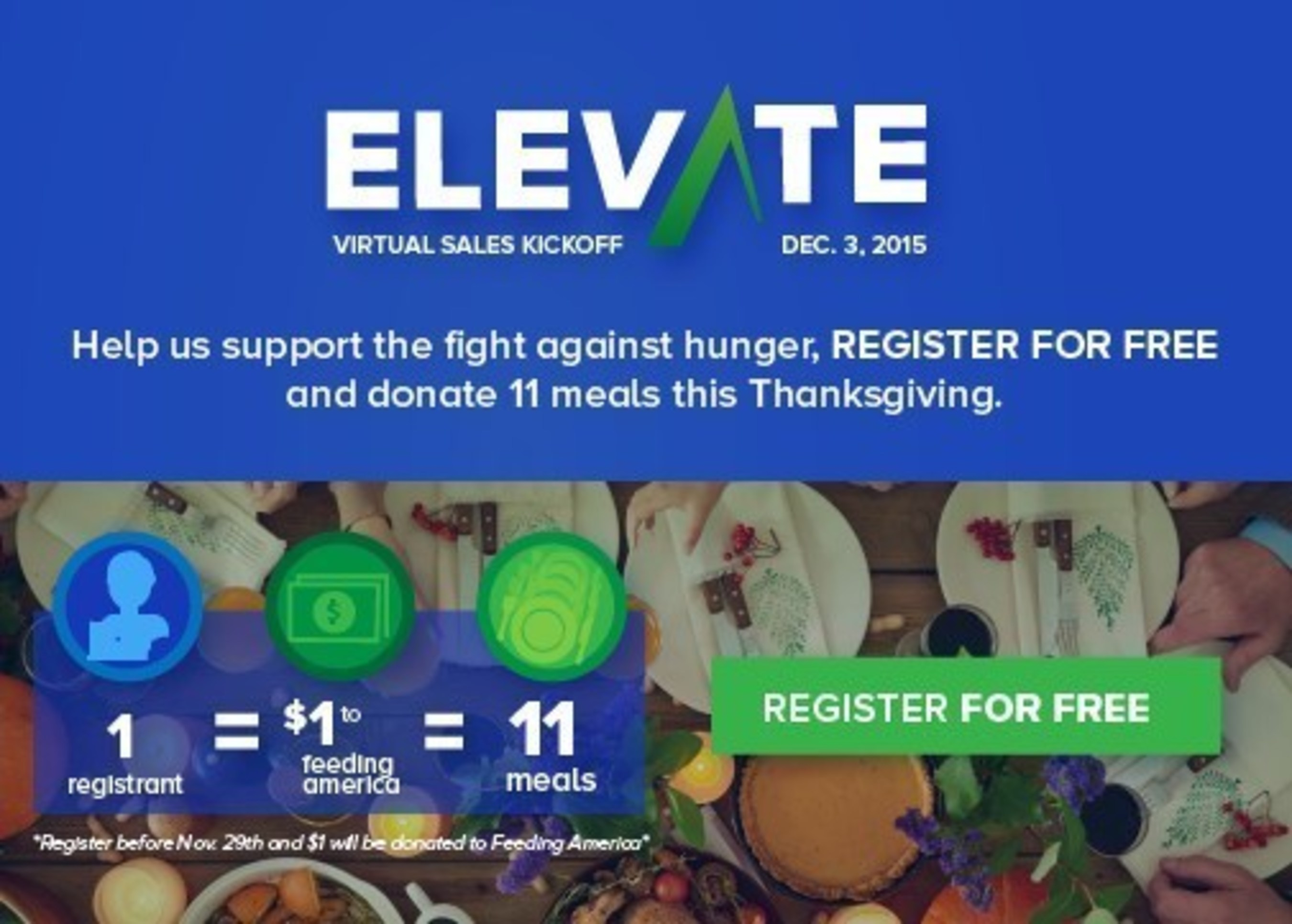 Velocify and AA-ISP Join the Fight Against Hunger: Register for ELEVATE Virtual Sales Kickoff and $1 Will Go to Feeding America