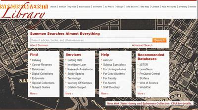 Syracuse University Library Website.  (PRNewsFoto/Serials Solutions)