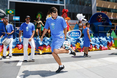 Los Angeles, June 17, 2014 -The Futbol Kings helped Bud Light announce the donation of a university scholarship to the Hispanic Scholarship Fund for each goal scored during the 2014 FIFA World Cup, up to $250,000. (PRNewsFoto/Bud Light)