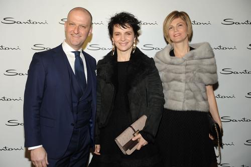 Santoni Opens Flagship Boutique in Milan; (l. to r.) Giuseppe Santoni, Juliette Binoche, & Alessia Santoni. ...