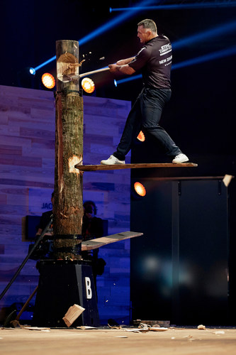 """Jason Wynyard of New Zealand performs during the single competition at the STIHL TIMBERSPORTS(R) World Championship in Poznan, Poland on November 14, 2015. Editorial use of this picture is free of charge. Please quote the source: """"ops/STIHL TIMBERSPORTS(R) SERIES/Armin Walcher"""" (PRNewsFoto/STIHL TIMBERSPORTS Series) (PRNewsFoto/STIHL TIMBERSPORTS Series)"""