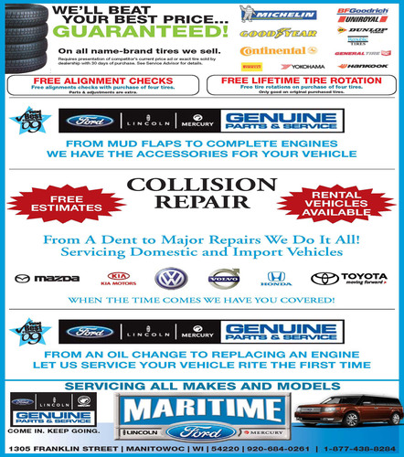 Discount auto parts and car service in Manitowoc Wisconsin by Maritime Ford.  (PRNewsFoto/Maritime Ford)