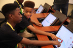 Students learn 3-D modeling in Verizon Minority Male Maker program.