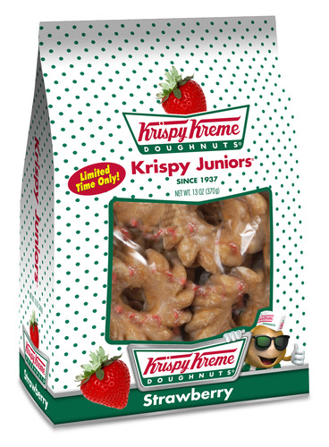 For a limited time only, Krispy Kreme(R) is sweetening up its delicious line of Krispy Juniors(R) mini cake doughnuts with the seasonal flavor of strawberry.  Strawberry Krispy Juniors are available in 12oz snack bags on the Krispy Kreme display at participating mass merchants, grocery and convenience stores while supplies last.  (PRNewsFoto/Krispy Kreme Doughnut Corporation)
