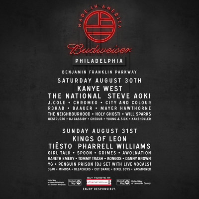 Festival Also Reveals Daily Line-Up for Both Philadelphia and Los Angeles, Single-Day Tickets on Sale Friday, July 18 (PRNewsFoto/Live Nation Entertainment)