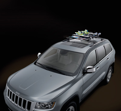 Racks and carriers: Mopar offers a full line of roof racks, and bike, ski, canoe and luggage carriers, along with a hitch-mounted bike carrier.  (PRNewsFoto/Chrysler Group LLC)