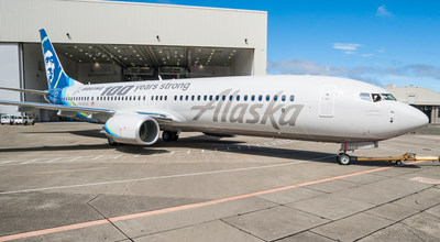 Alaska Airlines' newest Boeing 737-900ER left the paint hangar clad in a special Boeing centennial livery on June 22, 2016.