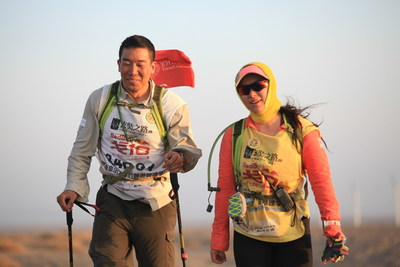 A lighter moment for Wang and Sun during the 75 mile journey.