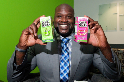 Shaquille O'Neal, in partnership with new glucose Quick Sticks, announces he's 'Sticking It' to diabetes. Throughout the rest of November and beyond, O'Neal is celebrating the new partnership with national media appearances and fun and educational videos.  (PRNewsFoto/QS Holdings, Inc.)