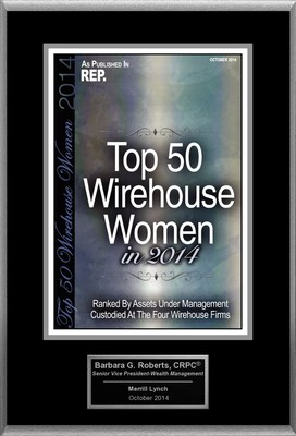 "Barbara G. Roberts Selected For ""Top 50 Wirehouse Women In 2014"""