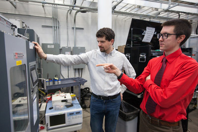 Johnson Controls Fellows Kevin Frankforter (left) and Jacob Dubie are pictured in the Johnson Controls Energy Storage Research Lab at the Wisconsin Energy Institute on the UW-Madison campus.