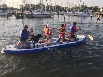Injured warriors recently competed as teams during a monster stand-up paddleboarding program gathering with Wounded Warrior Project in Middle River, Maryland.