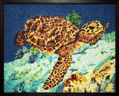 Hawksbill Sea Turtle made of 11,000 jelly beans is in the private collection of Jelly Belly Candy Company.  (PRNewsFoto/Jelly Belly Candy Company)