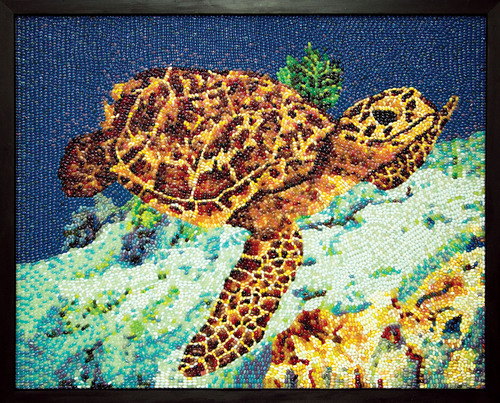 Hawksbill Sea Turtle made of 11,000 jelly beans is in the private collection of Jelly Belly Candy Company.  ...