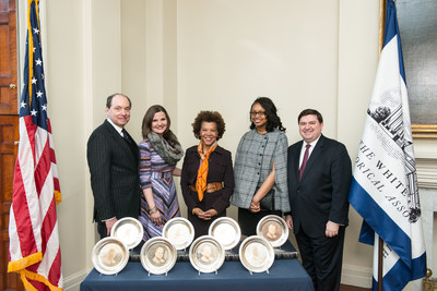 Boys & Girls Clubs of America's (BGCA) former Board Chairman Ron Gidwitz along with Julie Teer, BGCA; Pandit Wright, Boys & Girls Clubs of Greater Washington; and Kiana Knolland, former BGCA National Youth of the Year, accept eight ceremonial presidential plates honoring President Herbert Hoover from the White House Historical Association's Stewart McLaurin.