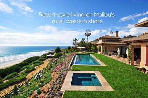 Malibu, California. This spectacular piece of luxury Malibu real estate is located on a spectacularly landscaped, one-acre, Malibu lot in the middle of MariSol's private, 100 foot elevated bluff with 360 degree pristine white water, island and mountain views.  The MariSol Malibu beach house is an extraordinary example of one of MariSol's Malibu homes for sale.  (PRNewsFoto/MariSol Malibu)