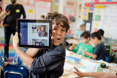 Student showing Student Stories on shared classroom device