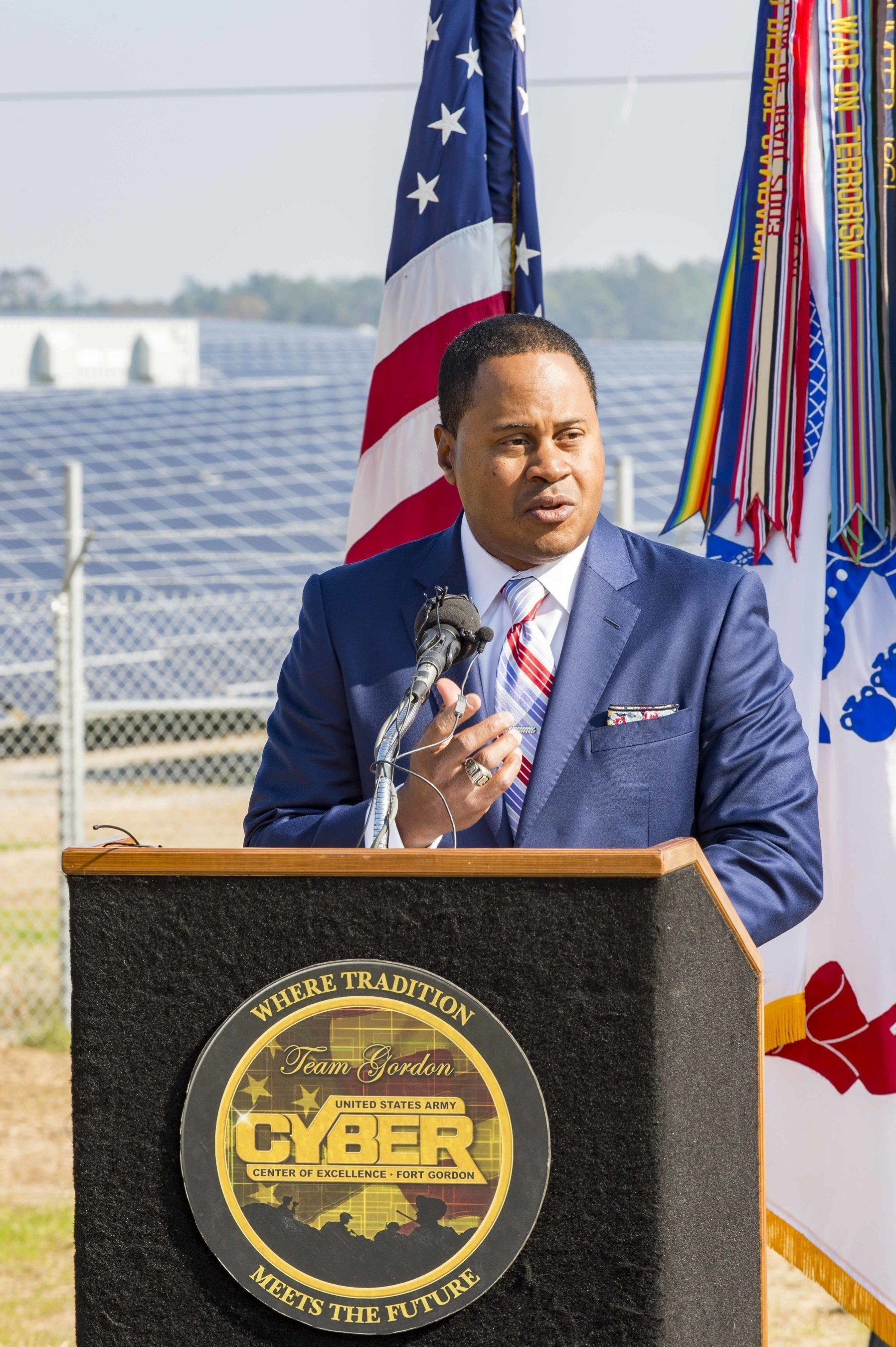 Georgia Power's Kenny Coleman highlights the importance of new renewable energy to the company, customers and the community during a special event to dedicate a new 30 MW solar facility at Fort Gordon near Augusta, Ga.